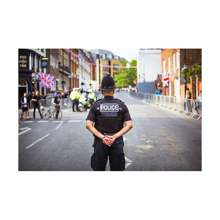 Back view of Police Officer standing in a street